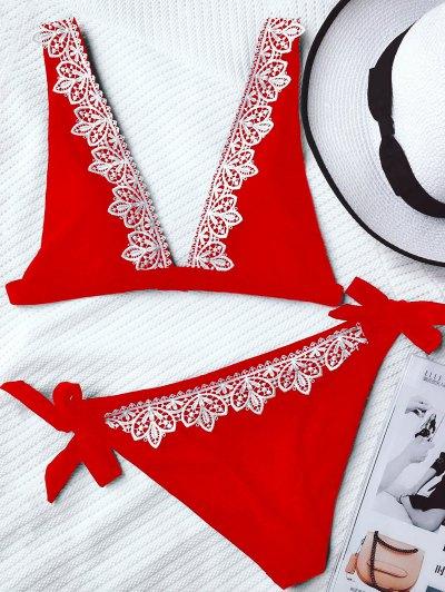 Lace Trim Plunging Neck Tied Bikini - Red