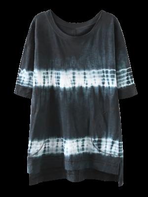 High Low Tie Dye Stripe T-Shirt Dress - Purplish Blue