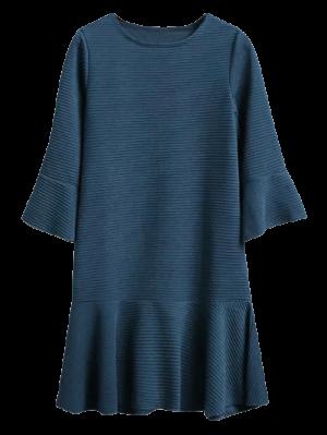 Flounce Trim Drop Waist Jacquard Dress - Deep Blue