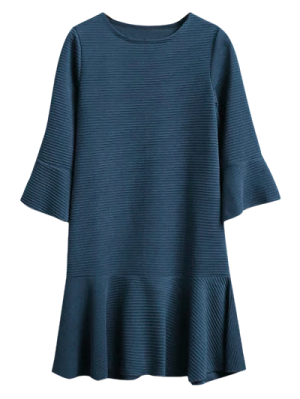 Garniture Volantée Robe Taille Basse Jacquard - Bleu Foncé
