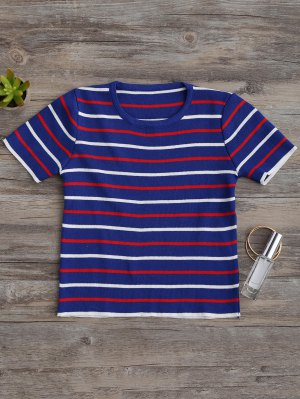 Knitting Stripes Cropped Top - Blue