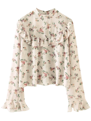 Chiffon Floral Print Frilly Blouse - Pink