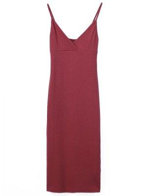 Slip Surplice Slinky Tank Dress - Red