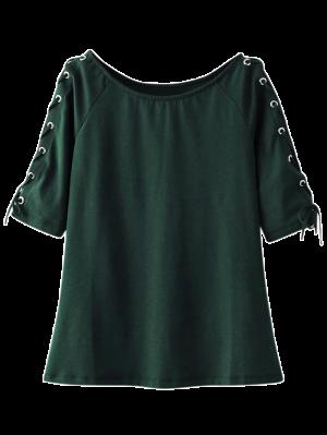 Lace Up Sleeve Raglan Tee - Green