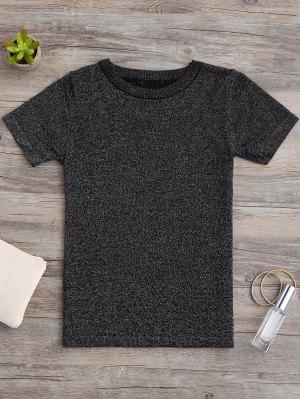 Glittered Knitting Top - Black