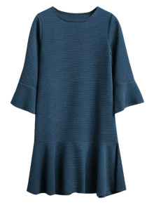 Flounce Trim Drop Waist Jacquard Dress