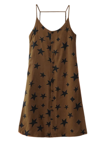 Button Up Star Print Slip Dress - Brown S