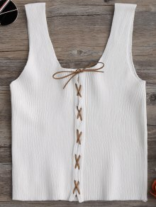 Knitting Lace Up Tank Top - White