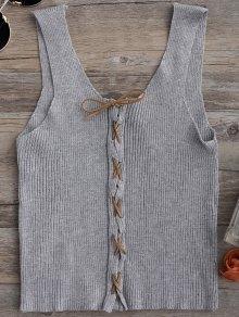 Knitting Lace Up Tank Top - Gray