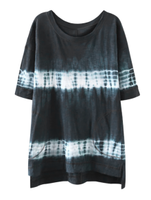 High Low Tie Dye Stripe T-Shirt Dress