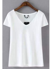Cotton Blend V Neck Tee - White S