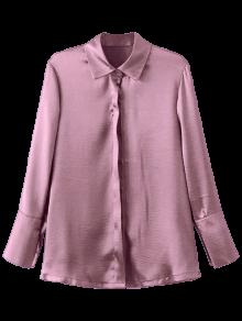 Embroidered Back Satin Shirt - Pink L
