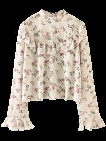 Floral en mousseline de soie Imprimer froufrous Chemisier