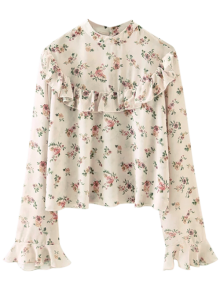 Chiffon Floral Print Frilly Blouse - Pink M