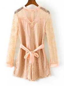 Choker Lace Sheer Romper With Tie Belt - Light Apricot Pink L