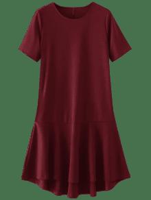 Vestido Con Altas Bajas Faldas Con Volantes - Rojo L
