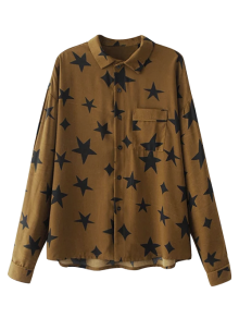 Pentagram Print Pocket Shirt