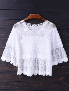Embroidered V Neck Mesh Panel Top