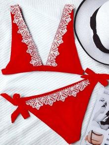 Lace Trim Plunging Neck Tied Bikini - Red M