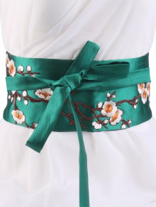 Wintersweet Blossom Embroidery Kimono Bowknot Waistbelt