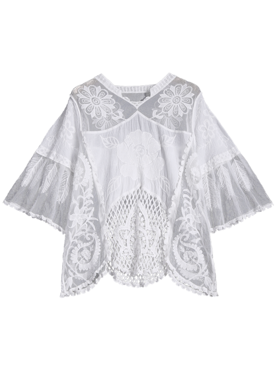See Through Hollow Out Top - WHITE ONE SIZE Mobile