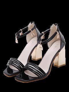 Strappy Zip Chunky Heel Sandals - Black 40