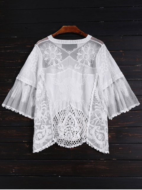 hot See Through Hollow Out Top - WHITE ONE SIZE Mobile