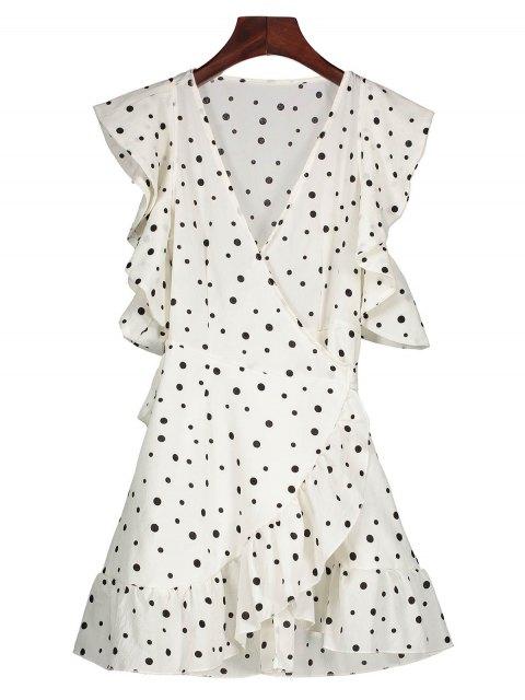 womens Polka Dot Wrap Casual Dress - WHITE M Mobile