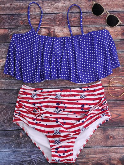 Pentagram Print High Waisted Bikini Set - Blue