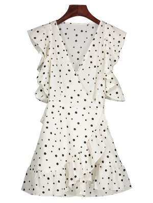 Polka Dot Wrap Casual Dress - White