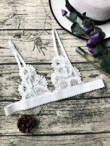 Unlined Sheer Crochet Bralette Top - White