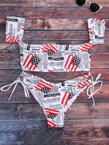 Patriotic American Flag Off The Shoulder Bikini Set
