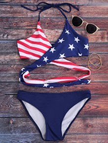 Striped Patriotic American Flag Wrap Bikini Set - Blue L