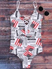 Strappy Patriotic American Flag Swimwear - White S