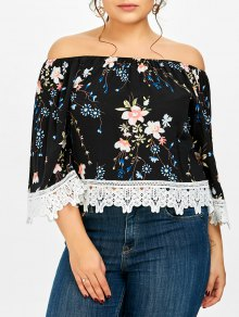 Plus Size Floral Off The Shoulder Lace Panel Crop Top - Black Xl