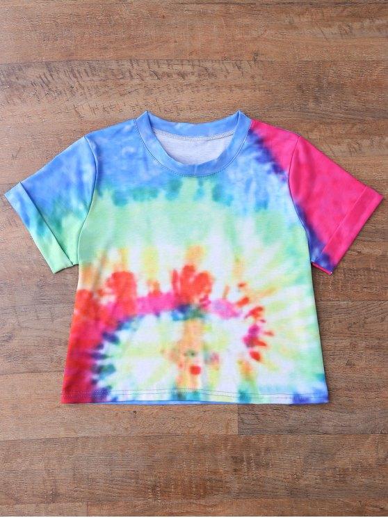 Rainbow Tie Dye Swirl Crop Top - BLUE S Mobile