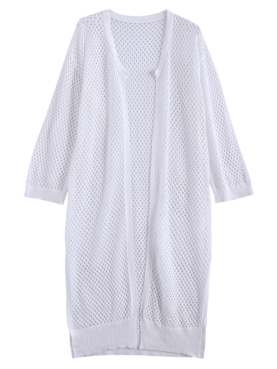 Open Front Open Knit Beach Cover Up - WHITE ONE SIZE Mobile