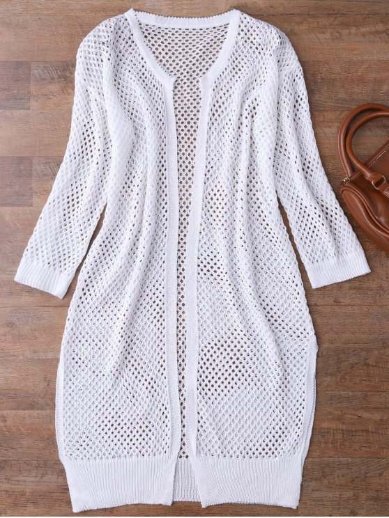 new Open Front Open Knit Beach Cover Up - WHITE ONE SIZE