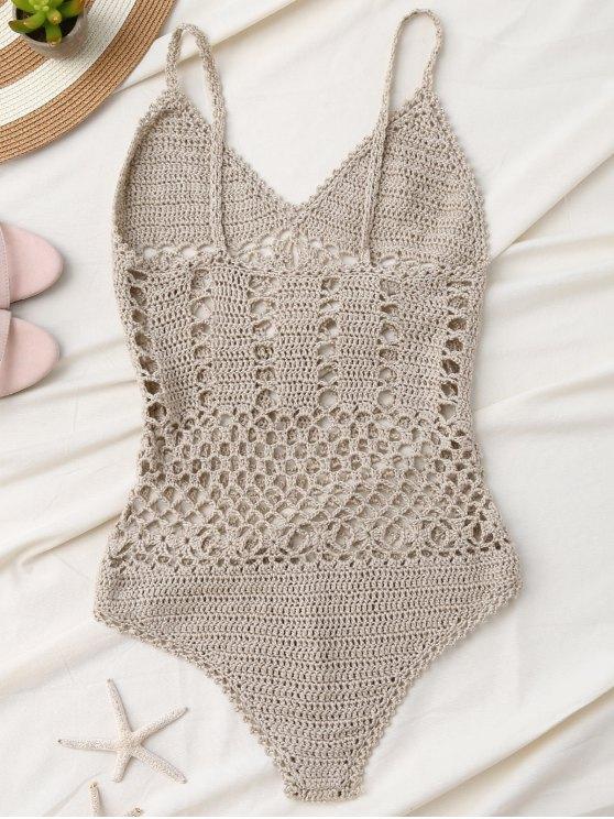 Cami Plunge Crochet Bodysuit - LIGHT KHAKI S Mobile
