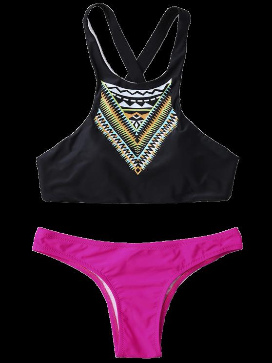 High Neck Printed Color Block Bikini - TUTTI FRUTTI S Mobile