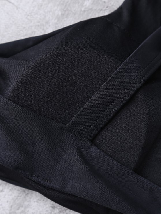 Banded Printed Bikini Set - BLACK M Mobile