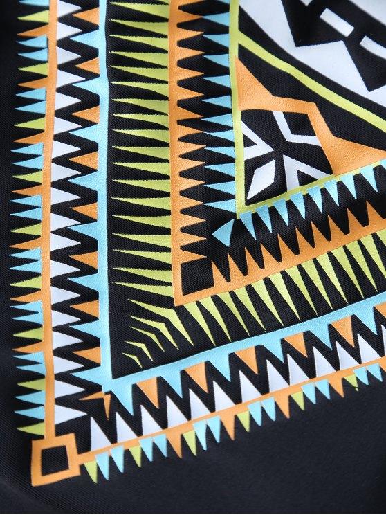 Banded Printed Bikini Set - BLACK S Mobile