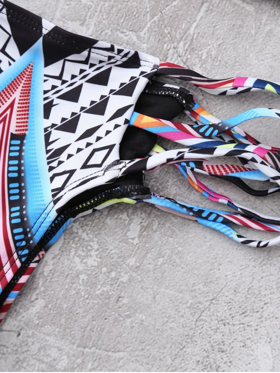 Multirope Tribal Print Bikini Set - BLACK L Mobile