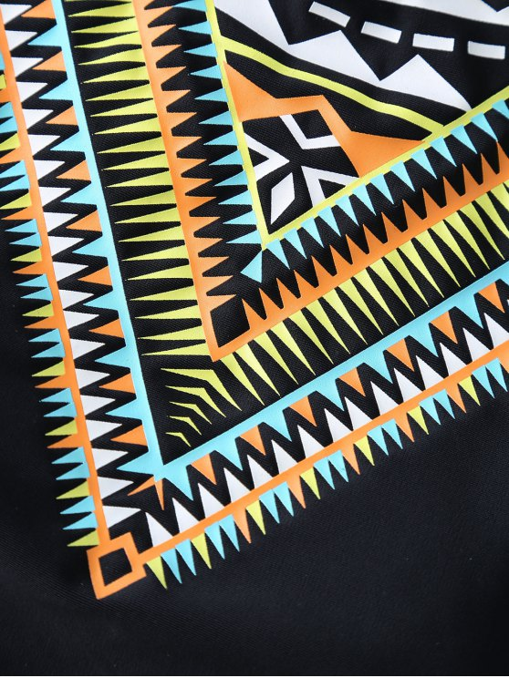 Bandage Tribal Print Bikini Set - BLACK L Mobile