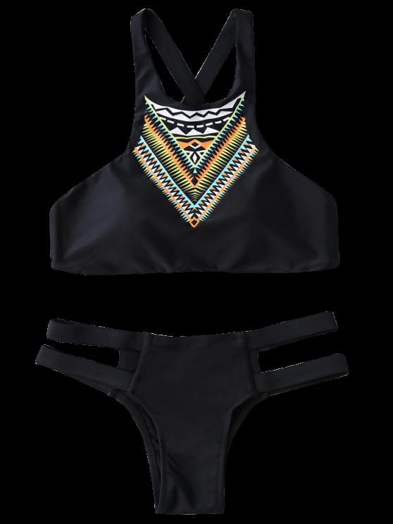 Bandage Tribal Print Bikini Set - BLACK S Mobile