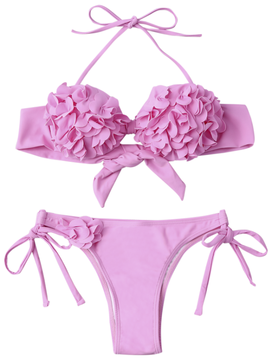 Stereo Flower Applique Halter String Bikini - PINK M Mobile
