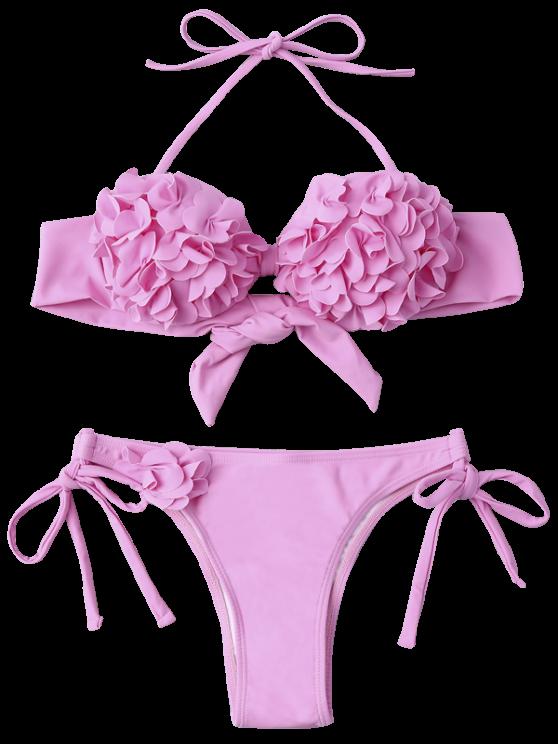 Stereo Flower Applique Halter String Bikini - PINK S Mobile