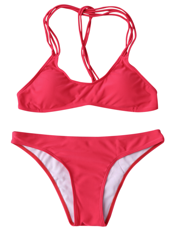 Strappy T Back Padded Bathing Suit - RED L Mobile