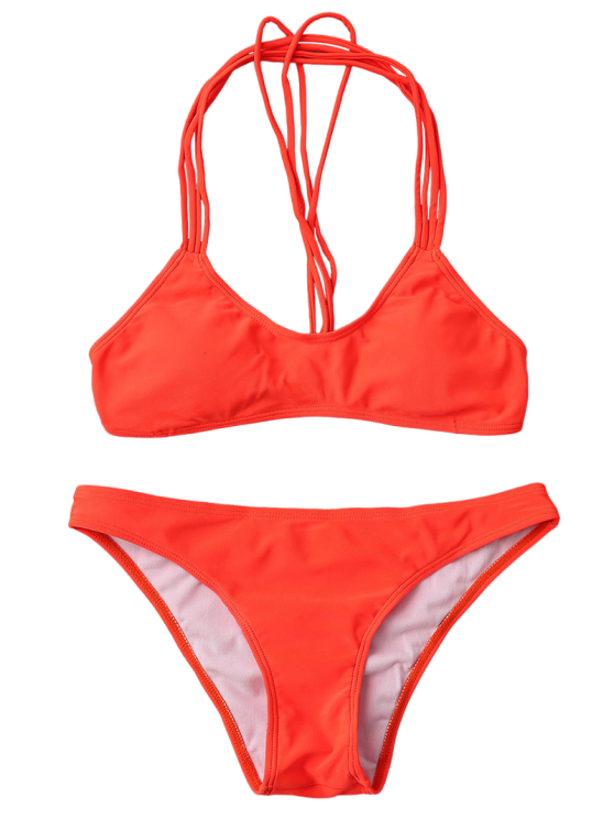 Strappy T Back Padded Bathing Suit - JACINTH M Mobile