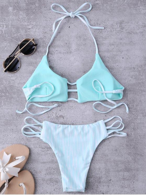 Argyle Halter Ladder Cut Reversible Bikini - WHITE AND GREEN L Mobile